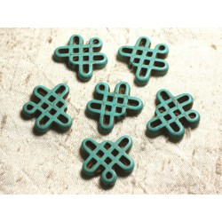 8pc - Perles Turquoise synthèse Noeuds Chinois 24x23mm Bleu Turquoise 4558550007735