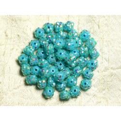 10pc - Perles Shamballas Résine 8x5mm Bleu Turquoise et Multicolore 4558550007759