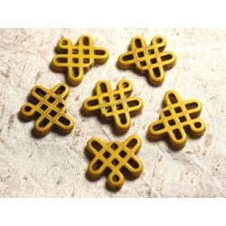 8pc - Perles Turquoise synthèse Noeuds Chinois 24x23mm Jaune 4558550007896