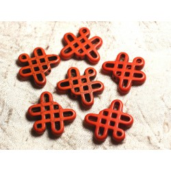 8pc - Perles Turquoise synthèse Noeuds Chinois 24x23mm Orange 4558550007902