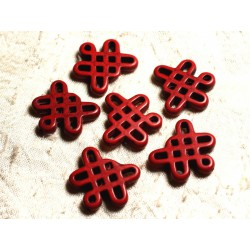 8pc - Perles Turquoise synthèse Noeuds Chinois 24x23mm Rouge 4558550007919