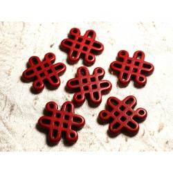 4pc - Perles Turquoise synthèse Noeuds Chinois 28x24mm Rouge 4558550007964