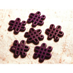4pc - Perles Turquoise synthèse Noeuds Chinois 28x24mm Violet 4558550007988