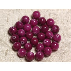 10pc - Perles de Pierre - Jade Boules 10mm Rose Fuchsia Rubis 4558550007520