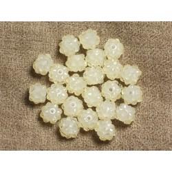 10pc - Perles Shamballas Résine 10x8mm Blanc Crème Transparent 4558550008060