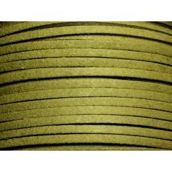 5 mètres - Cordon Lanière Suédine 3x1.5mm Vert Kaki 4558550008213