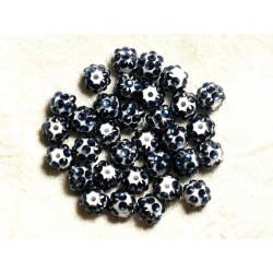 10pc - Perles Shamballas Résine 10x8mm Blanc et Bleu foncé 4558550008237