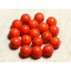 10pc - Perles Turquoise Synthèse Boules 12mm Orange N°5 4558550008268