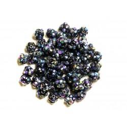 10pc - Perles Shamballas Résine 8x5mm Noir et Multicolore 4558550008282