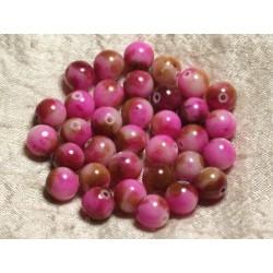 10pc - Perles de Pierre - Jade Boules 10mm Blanc Rose Marron 4558550005977