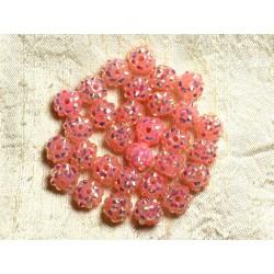 10pc - Perles Shamballas Résine 10x8mm Rose Corail 4558550008404