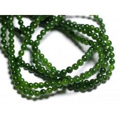 40pc - Perles de Pierre - Jade Boules 4mm Vert Olive - 4558550008794