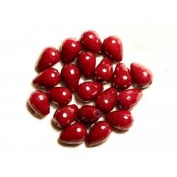 2pc - Perles de Pierre - Jade Rouge Bordeaux Gouttes Facettées 14x10mm 4558550008831