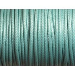 3 mètres - Cordon Coton Ciré 3mm Bleu Turquoise 4558550008862