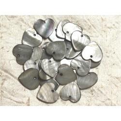 10pc - Perles Breloques Pendentifs Nacre Coeurs 18mm Gris Noir 4558550008879