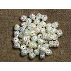 10pc - Perles Shamballas Résine 8x5mm Blanc et Multicolore 4558550008909