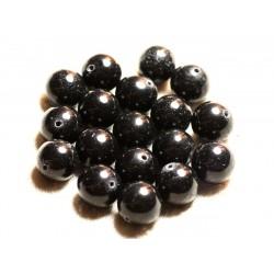 8pc - Perles de Pierre - Jade Boules 12mm Noir 4558550009104