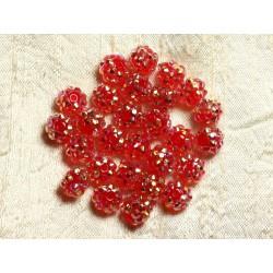 10pc - Perles Shamballas Résine 10x8mm Rouge 4558550009210