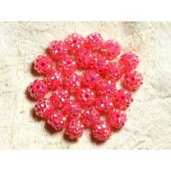 10pc - Perles Shamballas Résine 10x8mm Rose Pêche 4558550009227