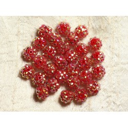 10pc - Perles Shamballas Résine 10x8mm Rouge foncé 4558550009241