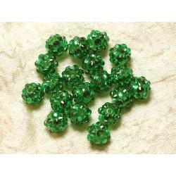 10pc - Perles Shamballas Résine 10x8mm Vert 4558550030115