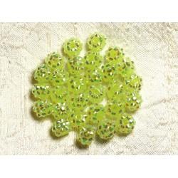 10pc - Perles Shamballas Résine 10x8mm Jaune Vert 4558550009272