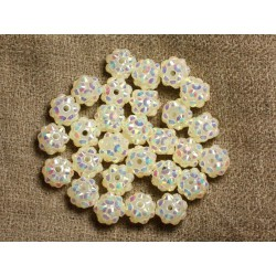 10pc - Perles Shamballas Résine 10x8mm Blanc Crème Transparent et Multicolore 4558550009296