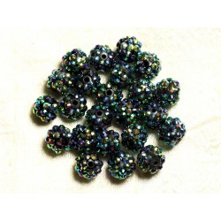5pc - Perles Shamballas Résine 12x10mm Noir Vert et Multicolore 4558550009319