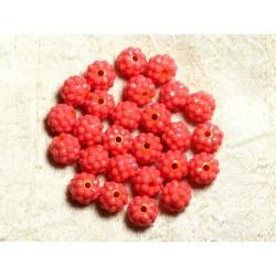 5pc - Perles Shamballas Résine 12x10mm Orange et Rose Corail 4558550009326