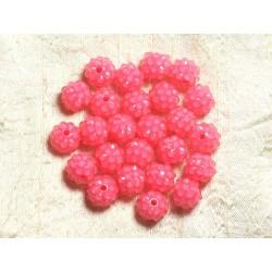 5pc - Perles Shamballas Résine 12x10mm Rose et Transparent 4558550009333