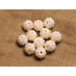 5pc - Perles Shamballas Résine 12x10mm Blanc et Multicolore 4558550020338