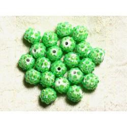 5pc - Perles Shamballas Résine 12x10mm Vert Pomme 4558550009371
