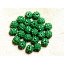 5pc - Perles Shamballas Résine 12x10mm Vert opaque 4558550009364