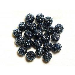 5pc - Perles Shamballas Résine 12x10mm Noir et Bleu 4558550009395