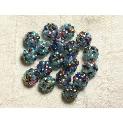 8pc - Perles Shamballas Résine 12x10mm Multicolore 4558550009418