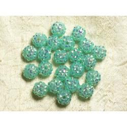 5pc - Perles Shamballas Résine 12x10mm Vert clair turquoise 4558550019936