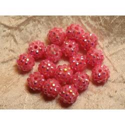 5pc - Perles Shamballas Résine 12x10mm Rose Pêche 4558550019738