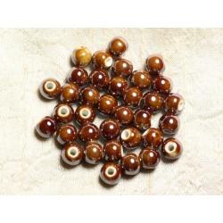 10pc - Perles Porcelaine Céramique Marron Boules 8mm 4558550009487