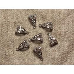5pc - Bélières Filigranes Métal Argenté Rhodium 19mm 4558550009616