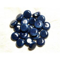 5pc - Perles Porcelaine Céramique Palets 14mm Bleu 4558550009661