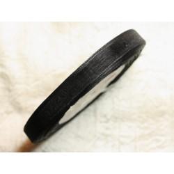 1pc - Bobine 45 mètres - Ruban Tissu Organza Noir 10mm 4558550009807