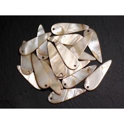 10pc - Perles Breloques Pendentifs Nacre Gouttes 35mm Ecru 4558550009951