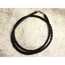 1pc - Collier Tour de cou Argent 925 Cuir Noir Tressé 3mm 4558550010278