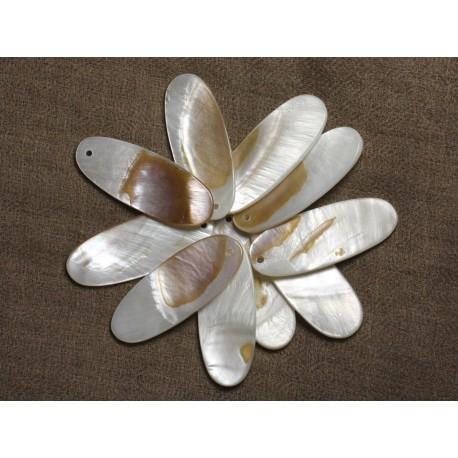 2pc - Perles Pendentifs Nacre Grands Ovales 45x18mm 4558550010650