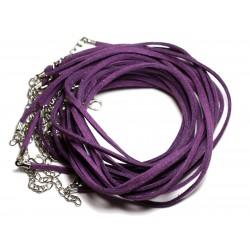 5pc - Colliers Tours de cou 45cm Suédine Violet 2x1mm 4558550011305