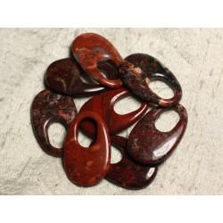 1pc - Pendentif Pierre semi précieuse - Jaspe Rouge Poppy Goutte 40x25mm 4558550011435