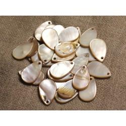 10pc - Perles Breloques Pendentifs Nacre Gouttes 19mm Beige Ecru 4558550011602