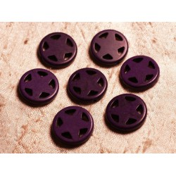 10pc - Perles Turquoise synthèse Cercle Etoile 20mm Violet 4558550011671