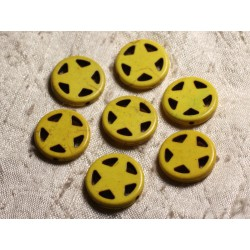 10pc - Perles Turquoise synthèse Cercle Etoile 20mm Jaune 4558550011701