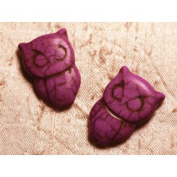 4pc - Perles Turquoise synthèse Chouette Hibou 30x20mm Violet Rose 4558550011725